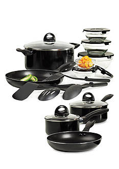 Basic Essentials Black 17-Piece Starter Cookware Set
