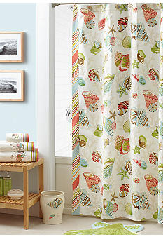 Croscill Coral Beach Shower Curtain and Hooks - Sold Separately