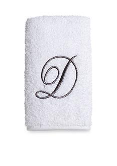 Avanti Pre White/Silver Script Monogram Bath Towel - D