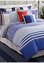 Mariner's Cove Multi Blue Striped Twin Duvet Set 88-in. x 68-in. with Sham 20-in. x 26-in.