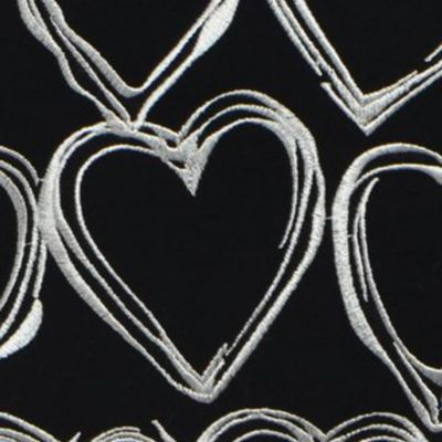 Teen Bedding: Black Betsey Johnson BETSEY'S BOUDOIR EMBROIDERED HEART BLK 16