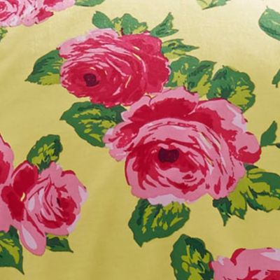 Bed & Bath: Floral Sale: Yellow Betsey Johnson BJ BETSEY'S GARDEN F/Q CSET