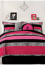 Sascha Pink/Black Full/Queen Comforter Set 86-in. x 86-in. with Shams 20-in. x 26-in.