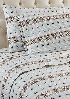 Shavel Micro Flannel Reindeer Stripe Queen Sheet Set