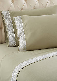 Shavel Micro Flannel Queen Meadow Lace Edged Sheet Set