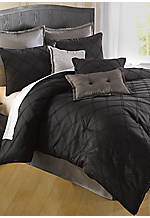 Pintuck Gray Embroidered Square Pillow 18-in. X 18-in.