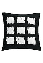 Brushstroke Black and White Square Decorative Pillow 18-in. x 18-in.