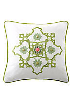 Gramercy Paisley White Square Decorative Pillow 18-in. x 18-in.