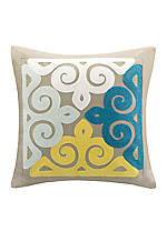 Tan Multi Colored Embroidered Square Pillow 18-in. x 18-in.