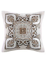 Odyssey Faux Linen Decorative Pillow with Applique Embroidery 16-in. x 16-in.
