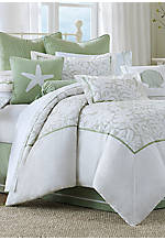 Brisbane White Leaf Queen Comforter Set 92-in. x 96-in.