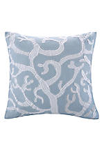 Blue Embroidered Crystal Beach Pillow 18-in. x 18-in.