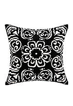 Silk Road White/Black Decorative Pillow 18-in. x 18-in.
