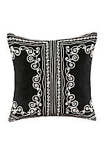 Silk Road Black Embroidered Pillow 18-in. x 18-in.