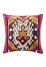 Chapan Fuschia Multi Ikat Decorative  Pillow 18-in. x 18-in.