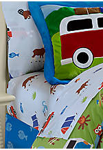 Camping Trip Twin Sheet Set Flat 66-in. x 96-in. Fitted 39-in. x 75-in., Pillowcase 20-in. x 30-in