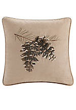 Brownstone Tan Embroidered Pillow 18-in. x 18-in.