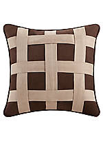 Brownstone Brown Embroidered Pillow 18-in. x 18-in.