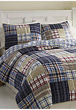 Chatham Navy Plaid Twin Quilt 86-in. x 66-in.