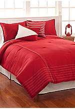 Crew Red Full/Queen Comforter Set 96-in. x 86-in. with Shams 20-in. x 26-in.