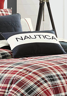 Mainsail Plaid Nautica Logo Pillow