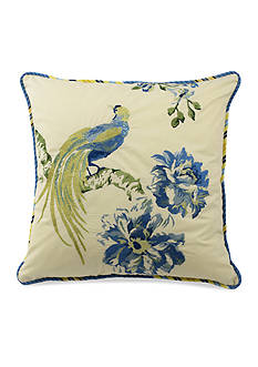 Waverly FLORAL ENGAGEMENT 18X18 SQUARE EMBROIDERED BIRD DEC PILLOW