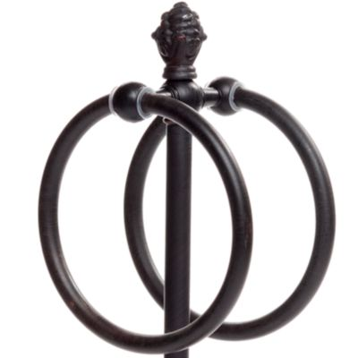 Bed & Bath: Taymor Bath: Oil Rubbed Bronze Taymor Countertop Towel Ring with Pineapple Finial