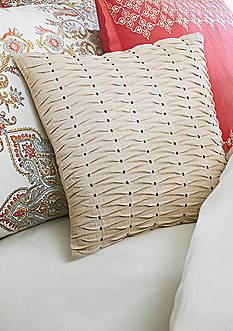 Biltmore Garden Medallion Khaki Pleated Square Decorative Pillow
