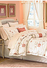 Fleur Light Beige/Coral Queen Comforter Set 92-in. x 96-in.