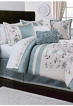 Home Accents Allium Blue 8-Piece Luxury Bed Ensemble