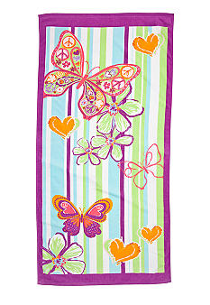 J Khaki Butterfly Youth Beach Towel