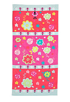 J Khaki Lady Bug Floral Youth Beach Towel
