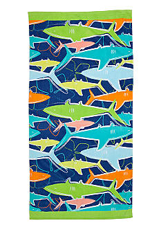 J Khaki Sharks Youth Beach Towel
