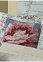 Peony Patch Floral Hooked Pillow 16-in. x 16-in.