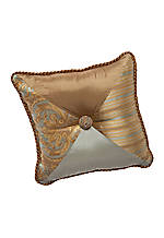 Dresser Light Khaki Button Square Decorative Pillow 18-in. x 18-in.