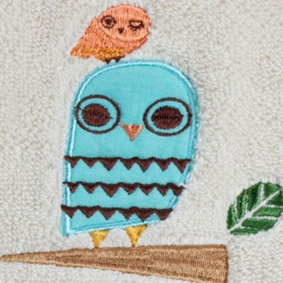 Luxury Bath Towels: White Creative Bath GIVE A HOOT PRINT HA