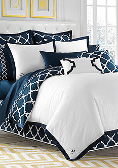 Jill Rosenwald Hampton Link Navy Duvet Collection - Online Only