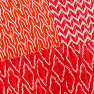 Casual Bedding: Coral Jill Rosenwald JR MULTI PATCH CHEVRON 18 X 18 DEC