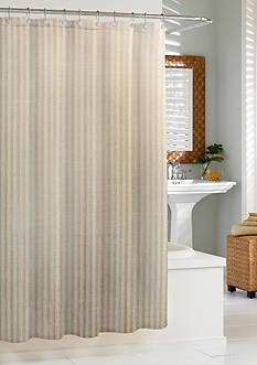 Kassatex Linen Chevron Shower Curtain