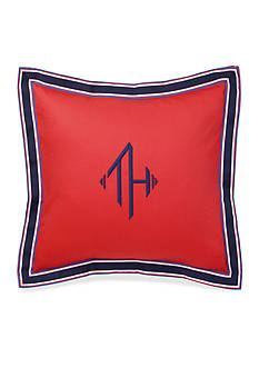 Tommy Hilfiger Monogram Grosgrain Red Decorative Pillow