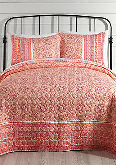 Jessica Simpson MOSAIC BORDER T QUILT - (CORAL) TWIN