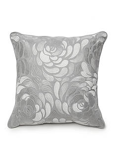 New Directions Ava Square Gray Embroidered Floral Decorative Pillow