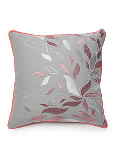 New Directions Ava Square Gray Embroidered Leaves Decorative Pillow