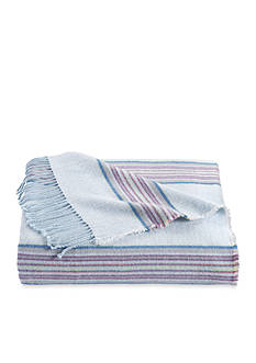 bluebellgray Welsh Stripe Wool Blend Throw Canal Blue