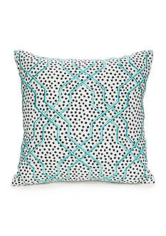 Best in Class Embroidered Aqua Fret Decorative Pillow