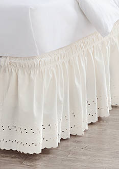 Home Accents Twin/TwinXL/Full Ivory Eyelet Bedskirt with Dual Fit Technology