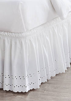Home Accents Twin/TwinXL/Full White Eyelet Bedskirt with Dual Fit Technology
