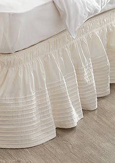 Home Accents Twin/TwinXL/Full Ivory Pintuck Bedskirt with Dual Fit Technology