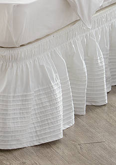 Home Accents Twin/TwinXL/Full White Pintuck Bedskirt with Dual Fit Technology