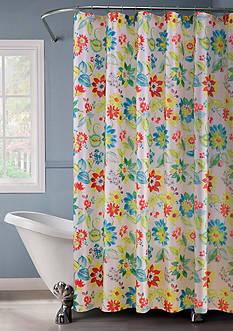 Dainty Home Lurex Flower Bouquet Shower Curtain